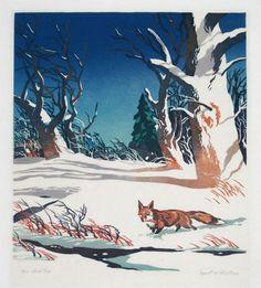 The Red Fox ~ Linocut ~ Ernest W Watson