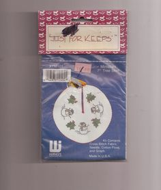 Just For Keepers Miniature 7 Inch Tree Skirt Cross Stitch Kit XTM101 Doll House  #JustForKeepers #MiniTreeSkirt