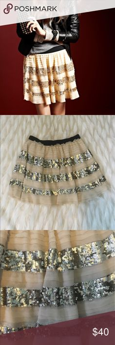 Free People Sequin Skirt Lined. Black elastic waist. Super cute skirt in great used condition, some fraying on the raw edges but that is part of the look! Make an offer! Free People Skirts