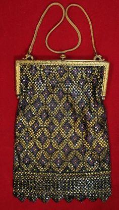 Vintage 1910's Mandalian MFG Enameled Mesh Flapper Bag Purse Purple & Gold