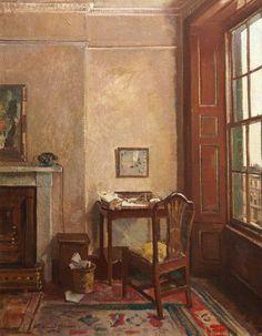 David Alison (British, 1882-1955),The Quiet Room, c. 1941. Oil on canvas. City of Edinburgh Council.