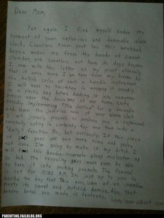 Epic letter to mom