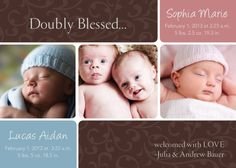 DOUBLY BLESSED Twins Birth Announcement/Baby by PaperHeartCompany, $15.00