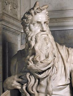 Moses (detail; c. 1513–1515) is a sculpture by the Italian High Renaissance artist Michelangelo Buonarroti, housed in the church of San Pietro in Vincoli in Rome. Commissioned in 1505 by Pope Julius II for his tomb, it depicts the Biblical figure Moses with horns on his head, based on a description in the Vulgate, the Latin translation of the Bible used at that time.