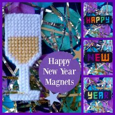 """SALE!!! Plastic Canvas: Happy New Year Magnets (set of 4 -- """"Happy New Year"""" words and champagne glass) by ReadySetSewbyEvie on Etsy https://www.etsy.com/listing/259480827/sale-plastic-canvas-happy-new-year"""