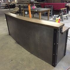 Custom Made Restaurant/Business Sleek Metal Front Desk/Reception Desk