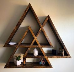 Valknut display shelf centerpiece crystal display by Lovelifewood