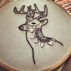 Costume Party Dressed Up Deer Hand Embroidery on Etsy, $45.00