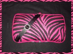 Pink Zebra travel wipe case