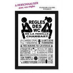 Règles des toilettes - tableau / affiche personnalisé