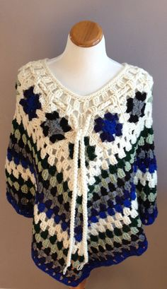 Hey, I found this really awesome Etsy listing at https://www.etsy.com/listing/174605108/crochet-poncho-shawl-granny-squares-in