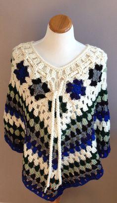 Crochet Poncho Shawl - Granny Squares in Off White, Blue, Green, Gray and Black - M/L