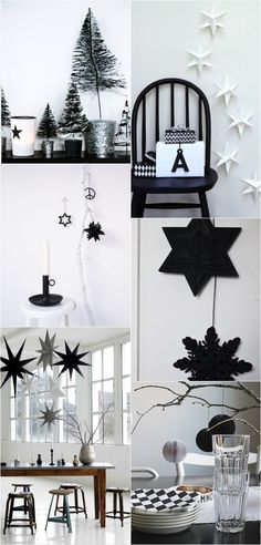 Navidad en blanco y negro/Black and white Christmas Black Christmas, Noel Christmas, Modern Christmas, Scandinavian Christmas, Winter Christmas, Christmas Themes, Holiday Decor, Party Fiesta, Deco Retro