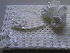 Crochet Baby Blanket Hat and  Booties Set gift christening