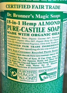 The Magic and Reality of Dr. Bronner's Castile Soap - 10 DIY products and ways to use it, including baby soap (soap is made from either Coconut Oil or, if it's pure Castile Soap, made from Olive Oil and contains no sulfates or harsh synthetic detergents)