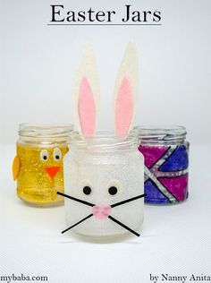 We've been upcycling old jam jars into Easter jars for our Easter Sunday centrepiece. They can be used year after year as a centrepiece or sweet holder. Easter Crafts, Crafts For Kids, Arts And Crafts, Table Centerpieces, Table Decorations, Felt Glue, Egg Decorating, Paper Plates, Make Your Own