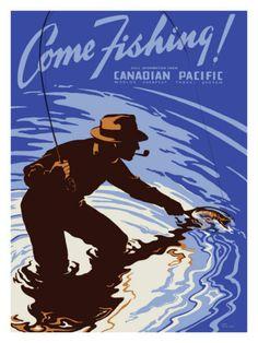 Vintage Travel Poster - Canada - Fishing - Railway