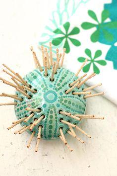 SECONDS SALE sea Urchin toothpick holder in aqua