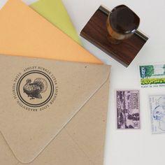 Custom Return Address Stamp TURKEY with wooden by apdesignco, $26.00