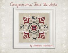Companions' Fair Mandala ~ only stitches Red Berries, Cotton Thread, Cross Stitch Patterns, Needlework, Symbols, Colours, Bird, Sewing, Red Deer