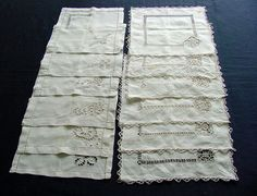 12 Linen Napkins Cutwork & Embroidery 2 Sets c.1920 by chalcroft