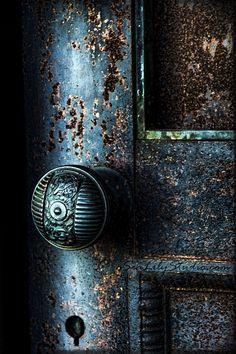 Secret Door 16x24 : cemetery photography blue door photo midnight gothic relic dark art nouveau teal blue green home decor. $95.00, via Etsy.