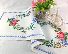 Your place to buy and sell all things handmade Vintage Dressers, Tea Towels, Table Runners, Red Roses, Shabby, Buy And Sell, Make It Yourself, Embroidery, Floral