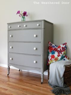 The Weathered Door: A distressed elephant grey dresser with white knobs - Paint is Behr and the color is Elephant Skin Gray Painted Furniture, Grey Furniture, Upcycled Furniture, Furniture Decor, Painting Furniture, Furniture Projects, Grey Dresser, Tall Dresser, Dyi