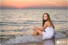 Sunset Senior Pictures on Lake Michigan beach near Holland