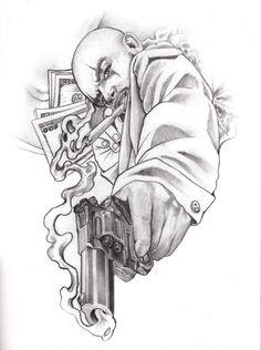 Gangster Drawings, Chicano Drawings, Dark Art Drawings, Art Drawings Sketches, Tattoo Sketches, Chicano Tattoos Sleeve, Chicano Style Tattoo, Cholo Tattoo, Gangsta Tattoos