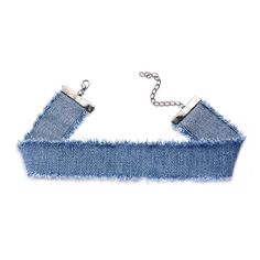 Sky Blue Raw Edge Denim Wide Choker Necklace ($5) ❤ liked on Polyvore featuring jewelry, necklaces, blue, blue choker, choker jewelry, choker necklace, denim jewelry and denim necklace