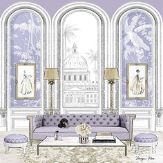 My favorite rooms are the ones that I've completely imagined! This is a lilac version of my cover Iillustration for ELLE DECORATION