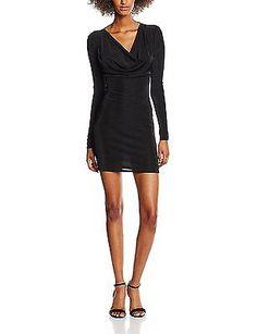 10, Black, New Look Women's Acetate Cowl Neck Body Con Plain Long Sleeve Dress N