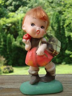 Vintage Girl Figurine with Red Hair - Japan Napcoware - C-6860 - Little Rascal