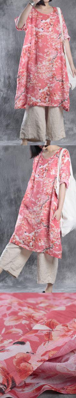 red print baggy linen plus size casual sundress bracelet sleeved mid dress