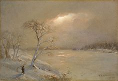 Frederic Edwin Church (American, 1826-1900) Winter Landscape, 1872 Oil on paper mounted on canvas, 7-3/4 x 11-1/4 in.