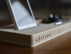 Love this docking station, very minimalistic and nothing says manly like minimalist woodwork.
