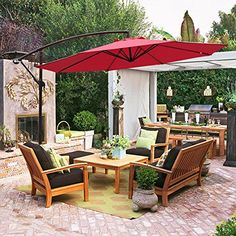 COBANA 10′ Offset Hanging Patio Umbrella Freestanding Outdoor Parasol Adjustable Market Umbrella  Product Details   – Umbrella Diameter: 10 Feet  – Umbrella Shape: Octagon  – Frame: Rust-free powder coated  – Pole: Aluminum  – Pole Diameter: 1.8 inch (48mm)  – Ribs: 8 steel ribs construction  – Fabric: 100% 250D polyester  – Colorfastness to light: Fade-resistant. Grade 4 min. at 200 hours. Cobana canopy fabric can block up to 90% of harmful UV rays and guards against mold and mildew..