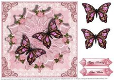 Pink flutter on satin and lace card topper