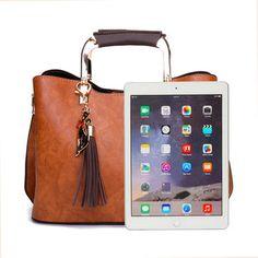 4868f9be3 Women PU Leather Tote Bag Retro Crossbody Bag Boas Ideias, Bolsas De Mão De  Couro
