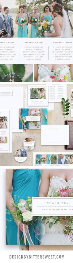 Photography marketing sets for wedding photographers. Business cards, pricing guides, thank you cards. Letterhead design, sticker labels.