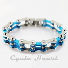 Motorcycle Chain Bracelet Turquoise With Crystals
