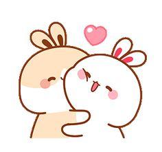 Cute Bunny Cartoon, Cute Cartoon Images, Cartoon Gifs, Cute Cartoon Wallpapers, Cute Bear Drawings, Cute Cartoon Drawings, Hug Gif, Gif Animé, Rabbit Gif