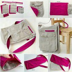 How to DIY Fabric Messager Bag from Old cargo pants Diy Handbag, Diy Purse, Handbag Tutorial, Diy Sac, Diy Clothes Videos, Diy Bags From Old Clothes, Recycle Jeans, Denim Bag, Sewing Basics