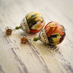 Colorful earrings orange flowered fabric by LesJardinsdeKahlan