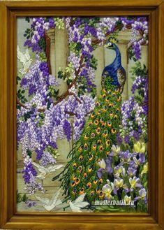 Peacock ~ ribbon embroidery on printed linen by Larissa Ivanova