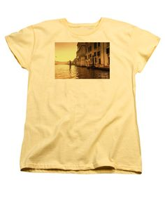 Morning In Venice Sepia By Marina Usmanskaya Women's T-Shirt (Standard Fit) featuring the photograph Morning In Venice Sepia by Marina Usmanskaya #marinausmanskayafineartphotograph #homedecor #homedesign #artforprint #artforhome #venice #goldenhour #italy #fineartprints