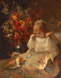 Jeanna Bauck (Suecia, 1840-1926). Mädchen mit Katze im Bett