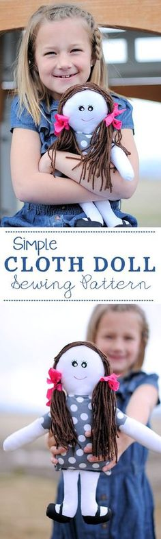 Sewing Toys Cute Cloth Doll Sewing Pattern - Crazy Little Projects - Fun and free cloth doll patterns to use to sew a cute fabric doll for a little girl you love. Doll Sewing Patterns, Sewing Dolls, Sewing Clothes, Doll Clothes, Kids Patterns, Clothes Patterns, Fabric Doll Pattern, Doll Patterns Free, Sewing Designs
