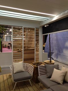 The interior of the Aluminium louvre veranda as exhibited at the IHS 2014 http://www.finedesignltd.co.uk/